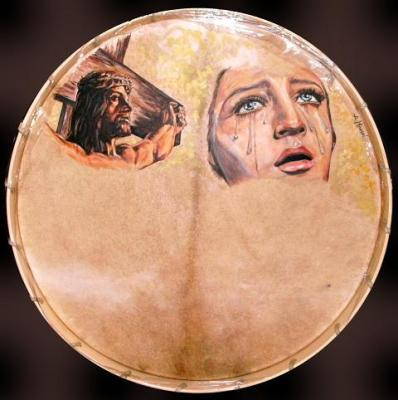 Cristo y Virgen en un bombo
