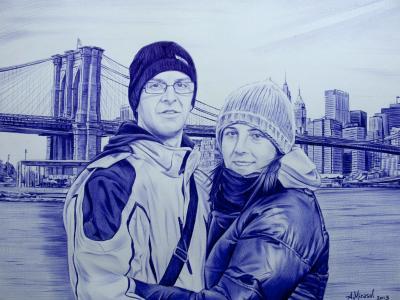 Miguel y Mamen, Retrato a boli BiC