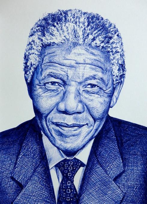 Nelson Mandela, Retrato a Boli BiC