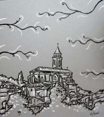 Vista de Híjar, Blanco, negro y gris