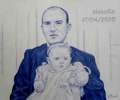 Jorge y Natalia, retrato a boli BiC