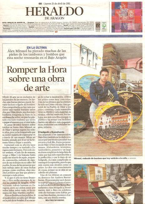 Alex Mirasol en el Heraldo de Aragón