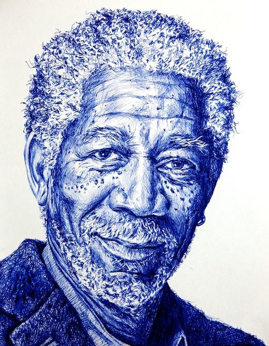 Morgan Freeman, Retrato a boli BiC